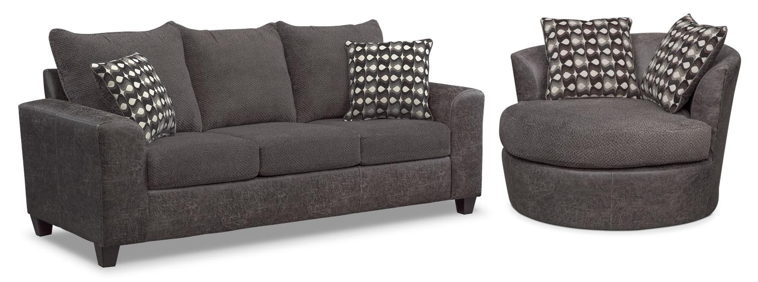 Brando Queen Memory Foam Sleeper Sofa And Swivel Chair Set – Smoke For Sofa With Swivel Chair (View 13 of 20)