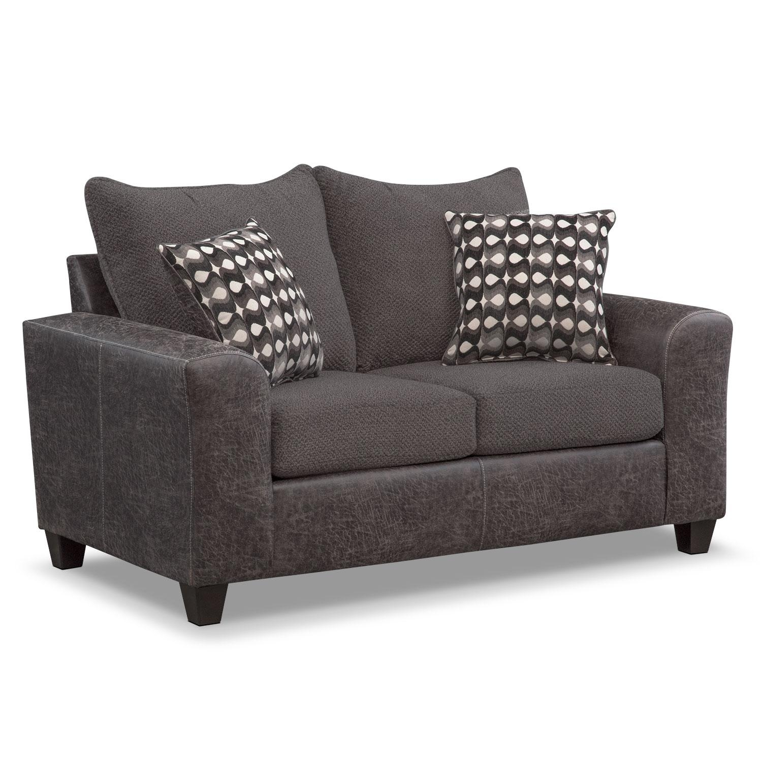 Brando Sofa, Loveseat And Swivel Chair Set – Smoke | American Throughout Spinning Sofa Chairs (View 15 of 20)
