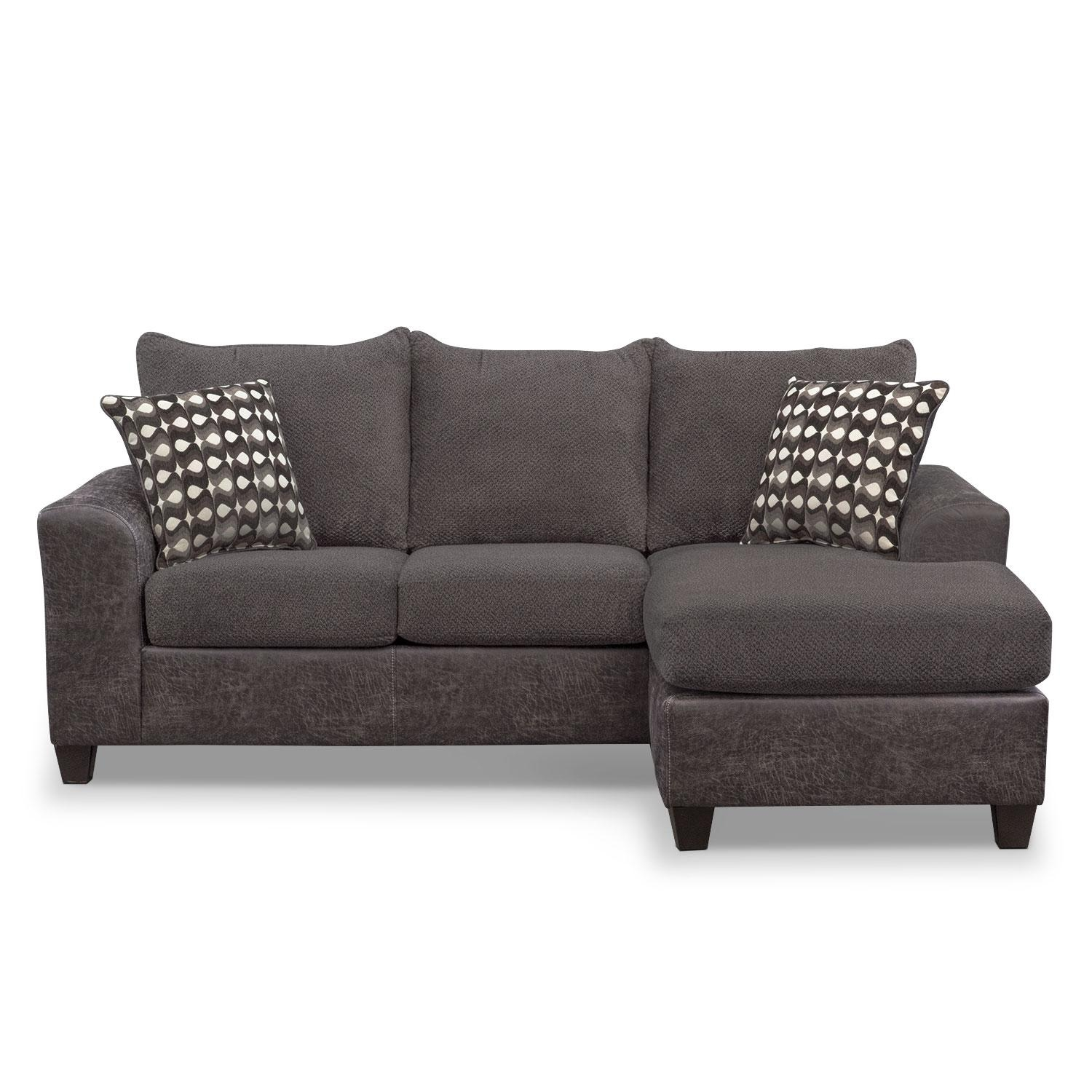 Brando Sofa With Chaise – Smoke | Value City Furniture Within Long Chaise Sofa (Image 3 of 20)
