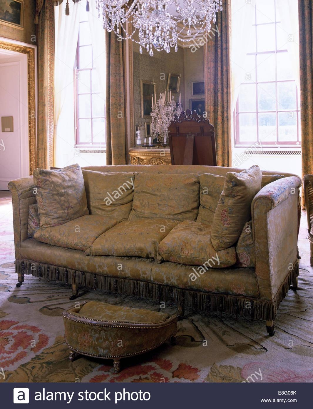 Brocade Sofa In Stately Home Drawing Room Stock Photo, Royalty Within Brocade Sofas (View 15 of 20)