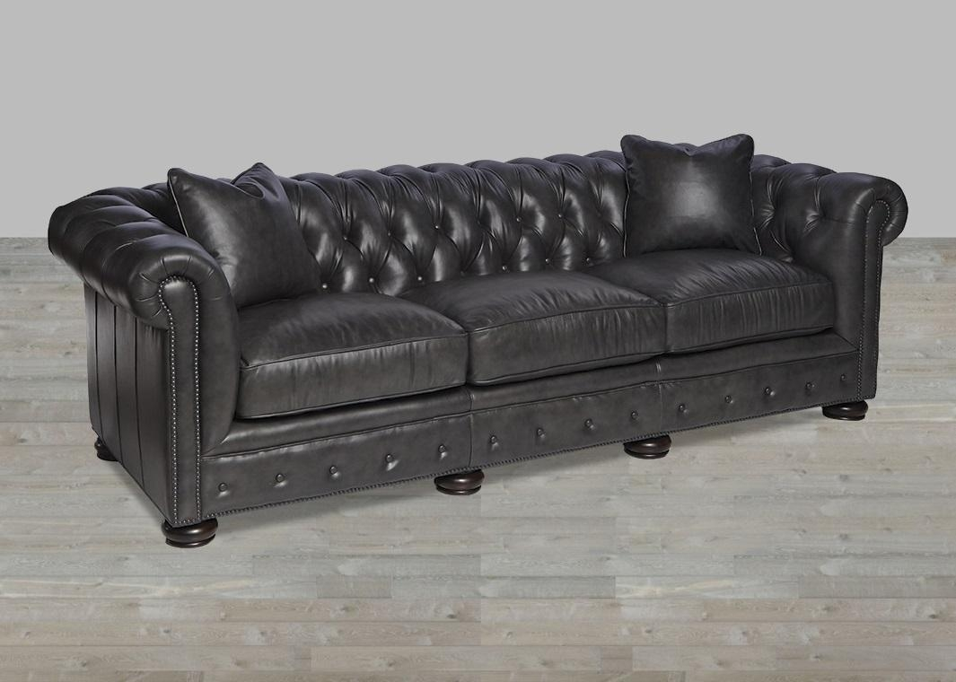 Brompton Tobacco Leather Chesterfiled Style Sofa Pertaining To Brompton Leather Sectional Sofas (Image 10 of 20)