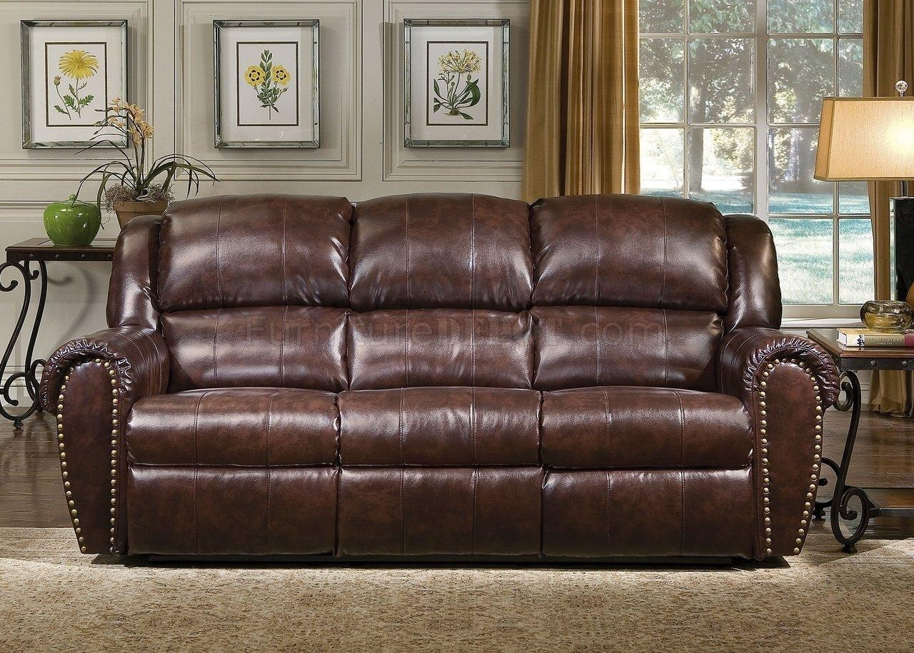 Brown Bonded Leather Sofa & Chair Set W/reclining Seats Within Bonded Leather Sofas (View 13 of 20)
