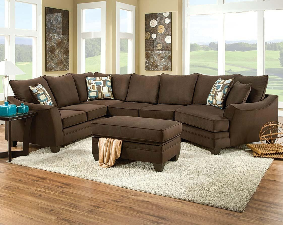 Brown Couch With Cuddler | Flannel Chocolate 3 Piece Sectional Intended For Cuddler Sectional Sofa (Image 2 of 15)