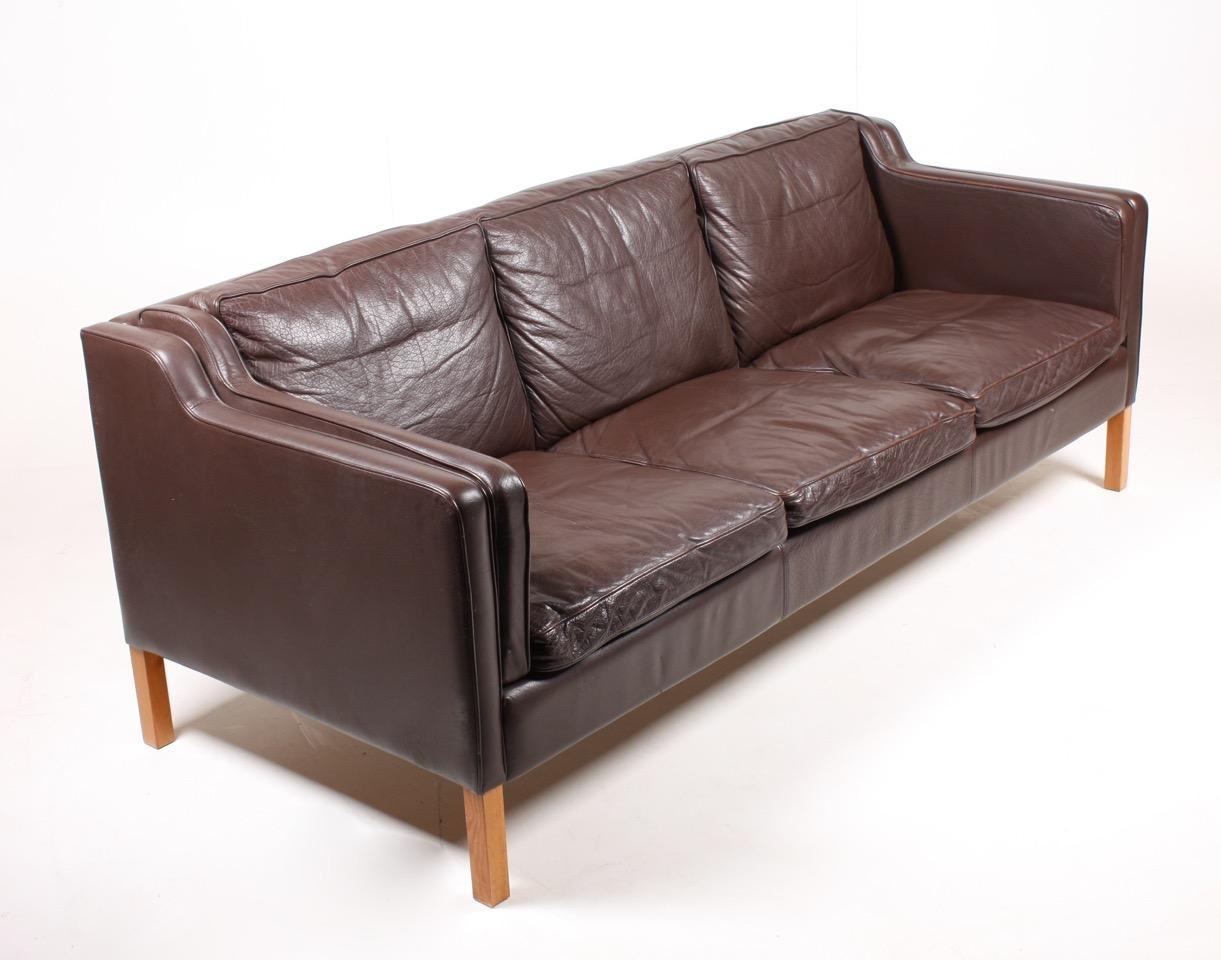 Brown Danish Three Seater Leather Sofa From Stouby, 1980S For Sale In 3 Seater Leather Sofas (Image 4 of 20)