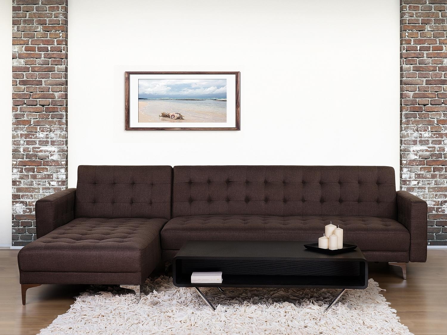 Brown Fabric Corner Sofa Bed Right / Left Side Armrest Sleep For Fabric Corner Sofa Bed (Image 5 of 20)