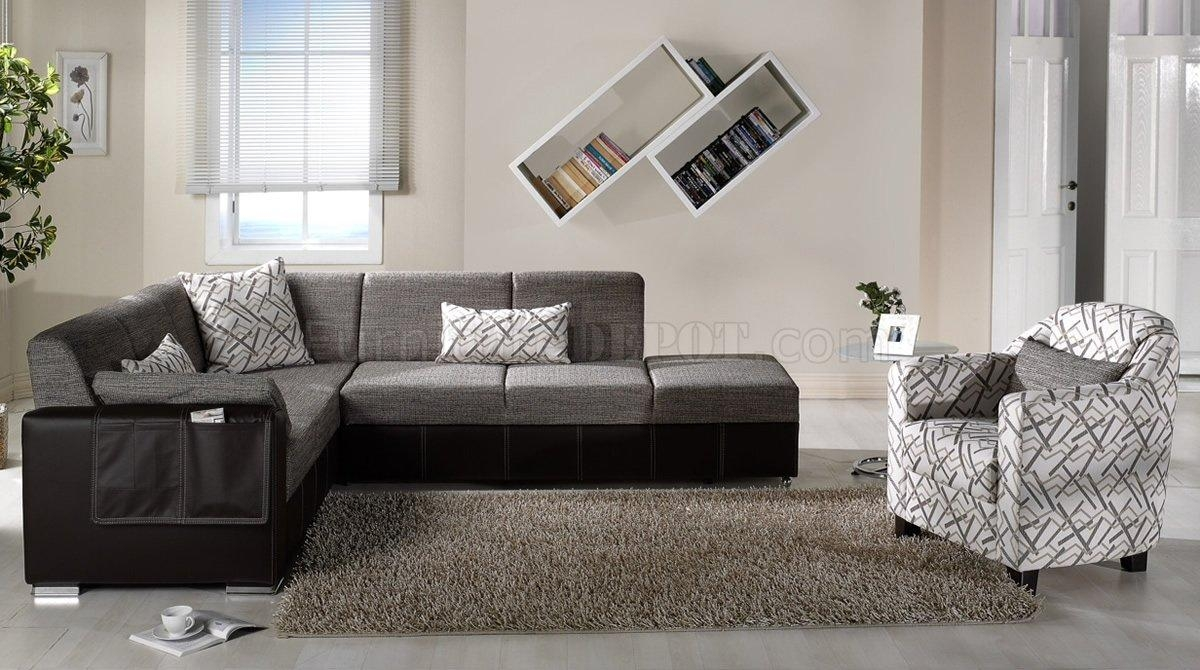 Brown Fabric & Leatherette Base Convertible Sectional Sofa Bed Inside Convertible Sectional Sofas (View 14 of 15)