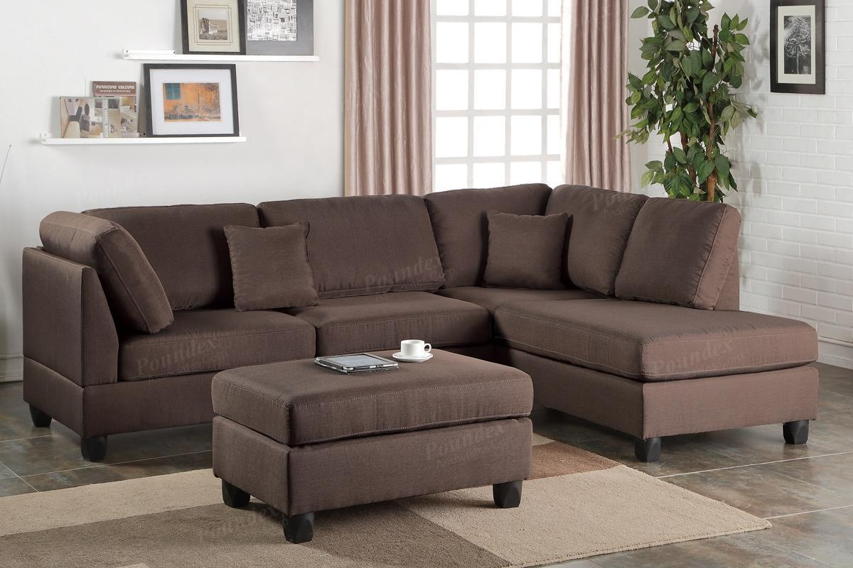 Brown Fabric Sectional Sofa And Ottoman – Steal A Sofa Furniture Regarding Sofa With Chaise And Ottoman (Image 2 of 20)