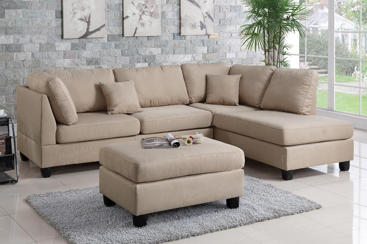 Brown Fabric Sectional Sofa And Ottoman – Steal A Sofa Furniture With Regard To Sectional With Ottoman And Chaise (View 13 of 20)