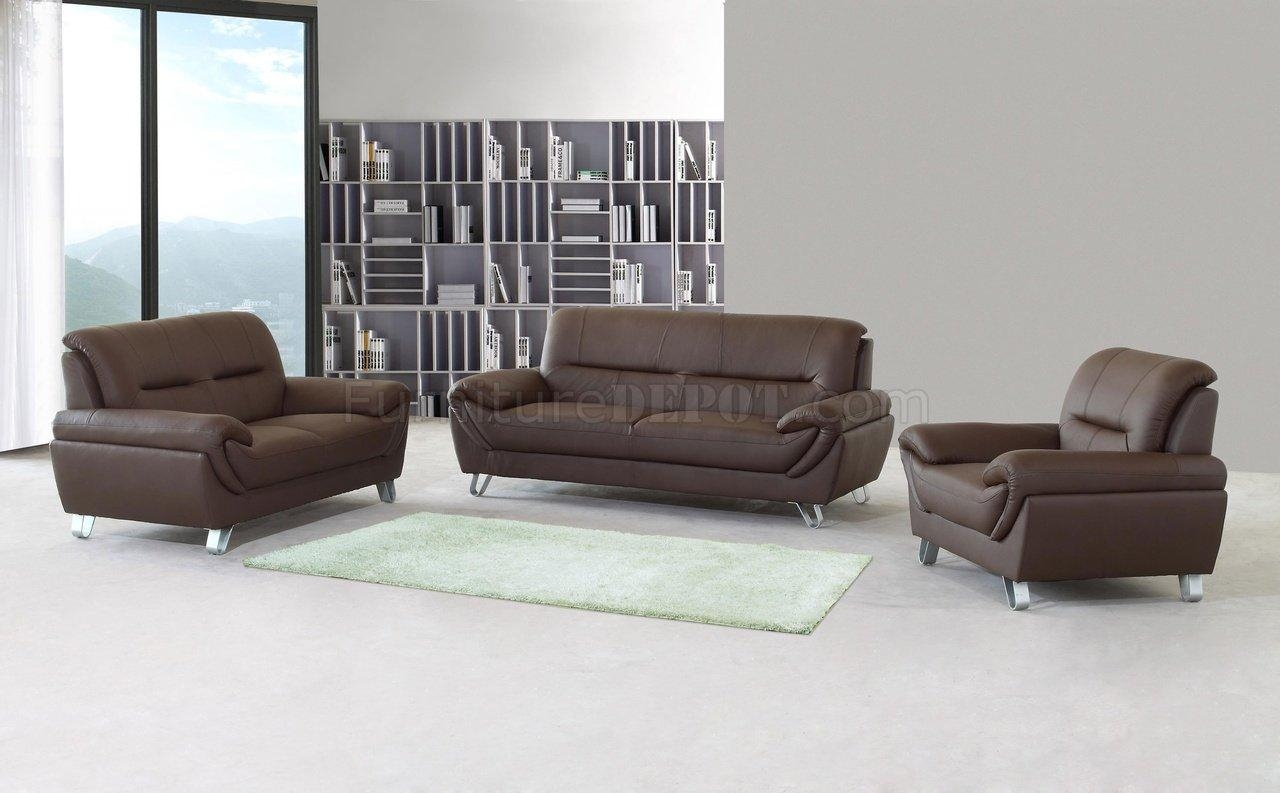 Brown Full Leather Modern Sofa, Loveseat & Chair Set W/options For Sofa Loveseat And Chair Set (Image 4 of 20)