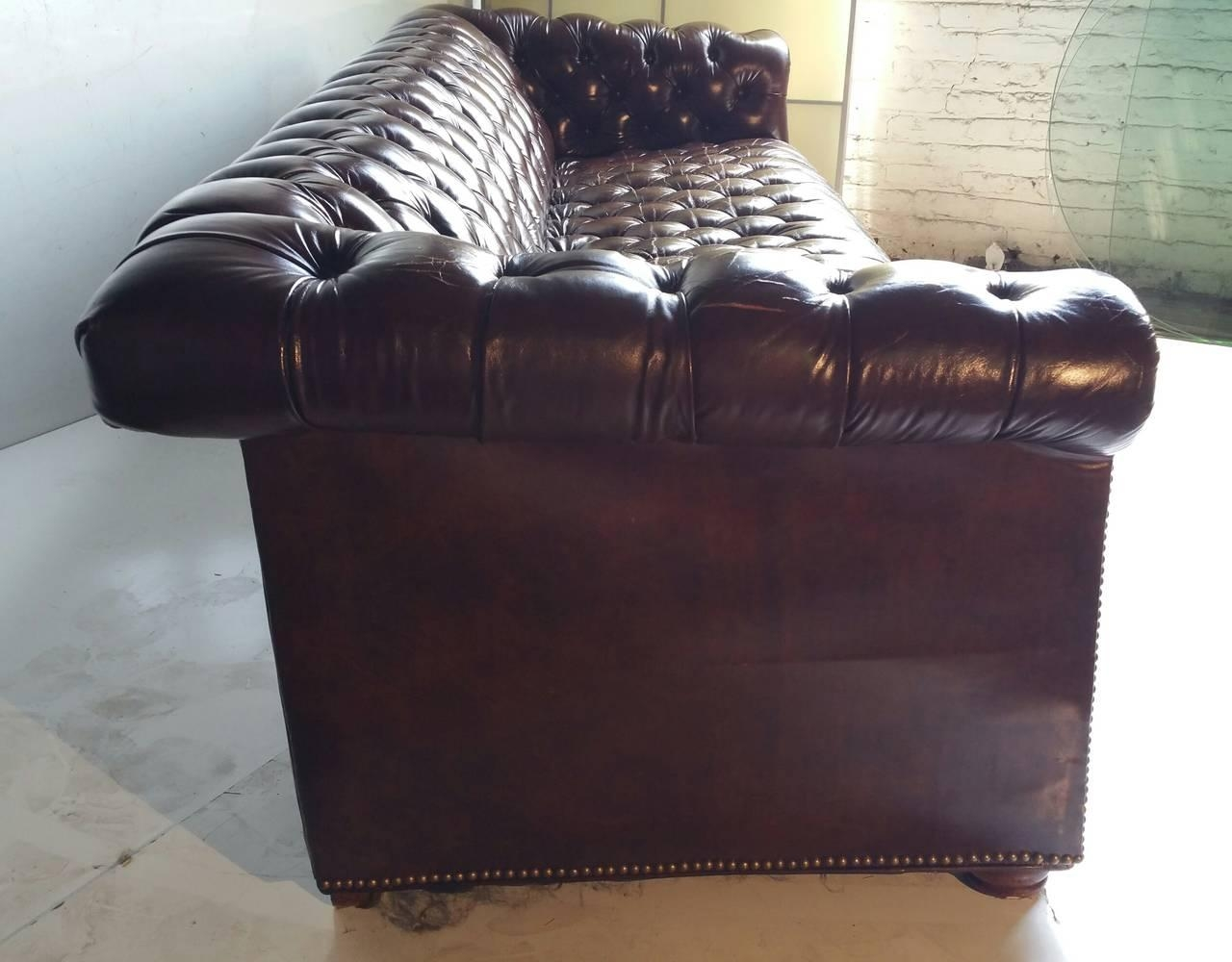 Brown Leather Button Tufted Chesterfield Sofa, Classic For Sale At Intended For Tufted Leather Chesterfield Sofas (View 20 of 20)