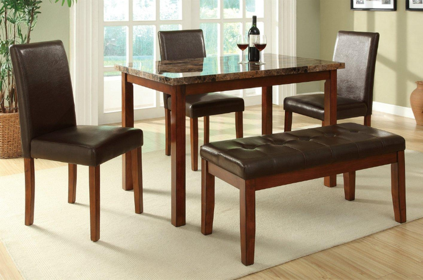 Brown Leather Dining Table And Chair Set – Steal A Sofa Furniture With Dining Table With Sofa Chairs (Image 5 of 20)