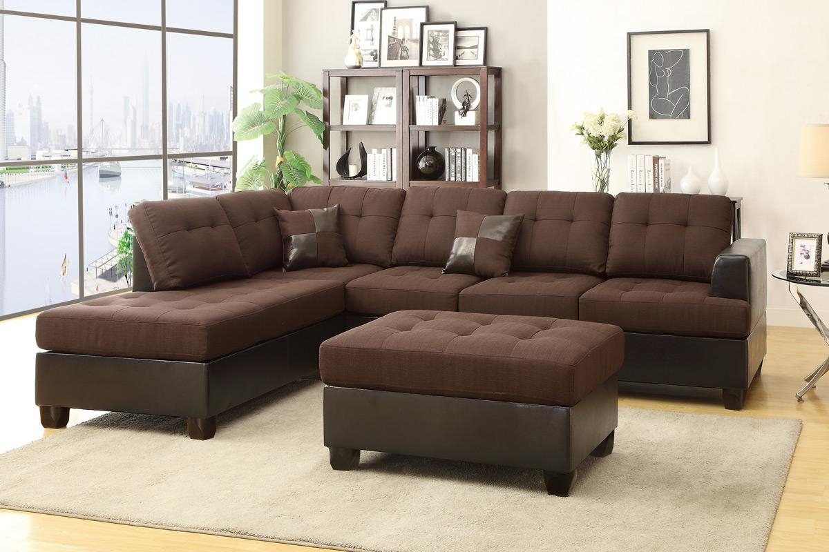 Brown Leather Sectional Sofa And Ottoman – Steal A Sofa Furniture In Chocolate Brown Sectional (Image 3 of 15)