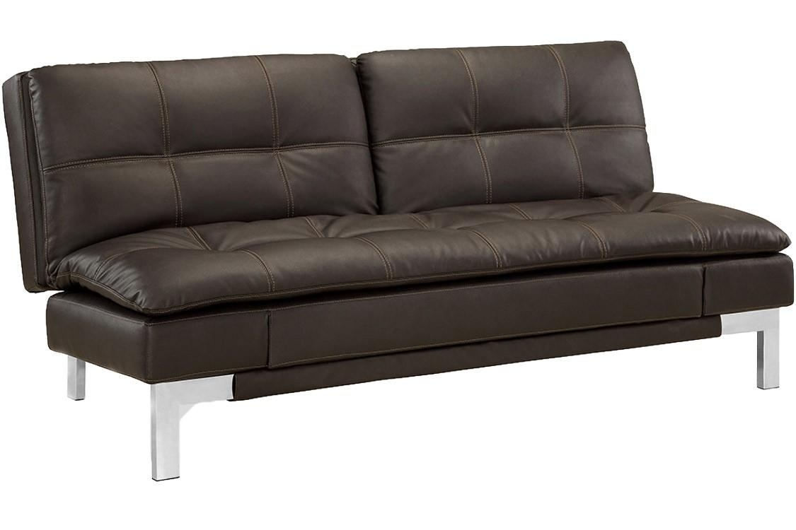 Brown Leather Sofa Bed Futon | Valencia Serta Euro Lounger | The With Regard To Euro Lounger Sofa Beds (Image 2 of 20)