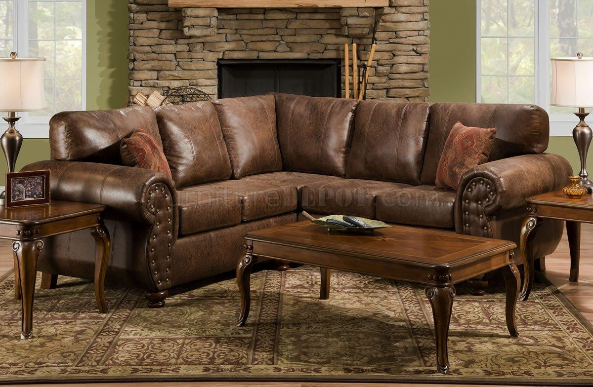Brown Smokey Leather Like Microfiber Classic Sectional Sofa In Leather And Suede Sectional (Image 2 of 20)