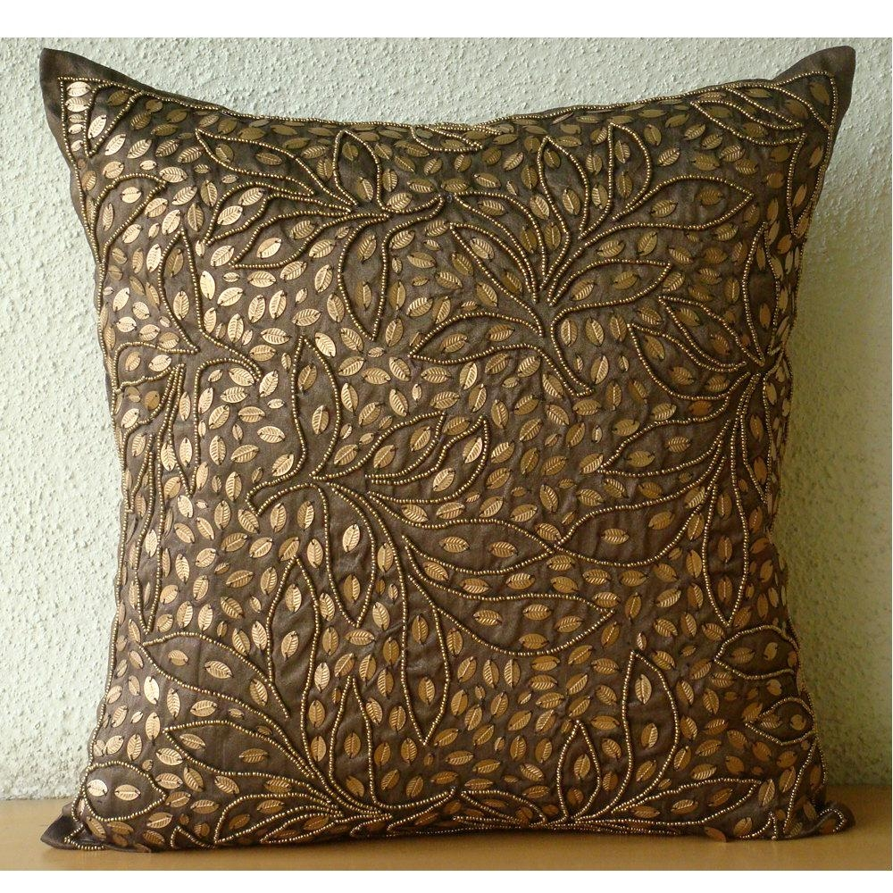 Brown Throw Pillows Cover For Couch Square Sequins & Beaded For Gold Sofa Pillows (Image 3 of 20)