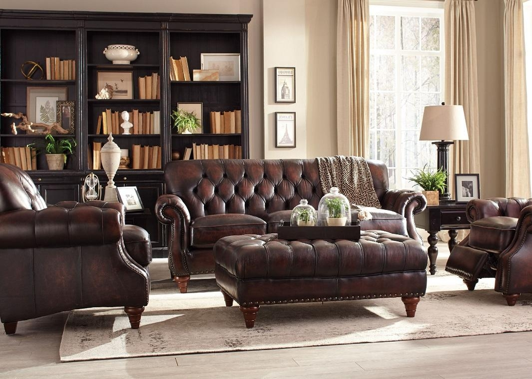 Brown Top Grain Button Tufted Leather Sofa Regarding Brown Tufted Sofas (Image 3 of 20)