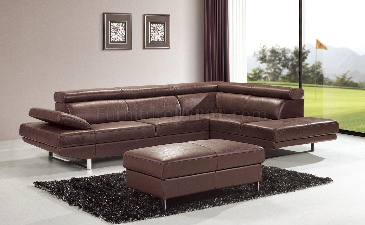 Brown Top Grain Full Leather Modern Sectional Sofa W/metal Legs Regarding Leather Modern Sectional Sofas (Image 4 of 20)