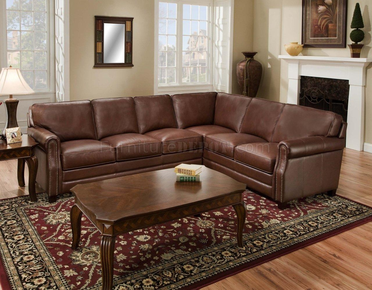 Brown Top Grain Italian Leather Traditional Sectional Sofa Pertaining To Traditional Sectional Sofas (Image 1 of 20)