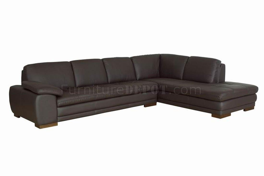 Brown Tufted Leather Right Facing Chaise Modern Sectional Sofa For Tufted Sectional Sofa Chaise (Image 2 of 20)