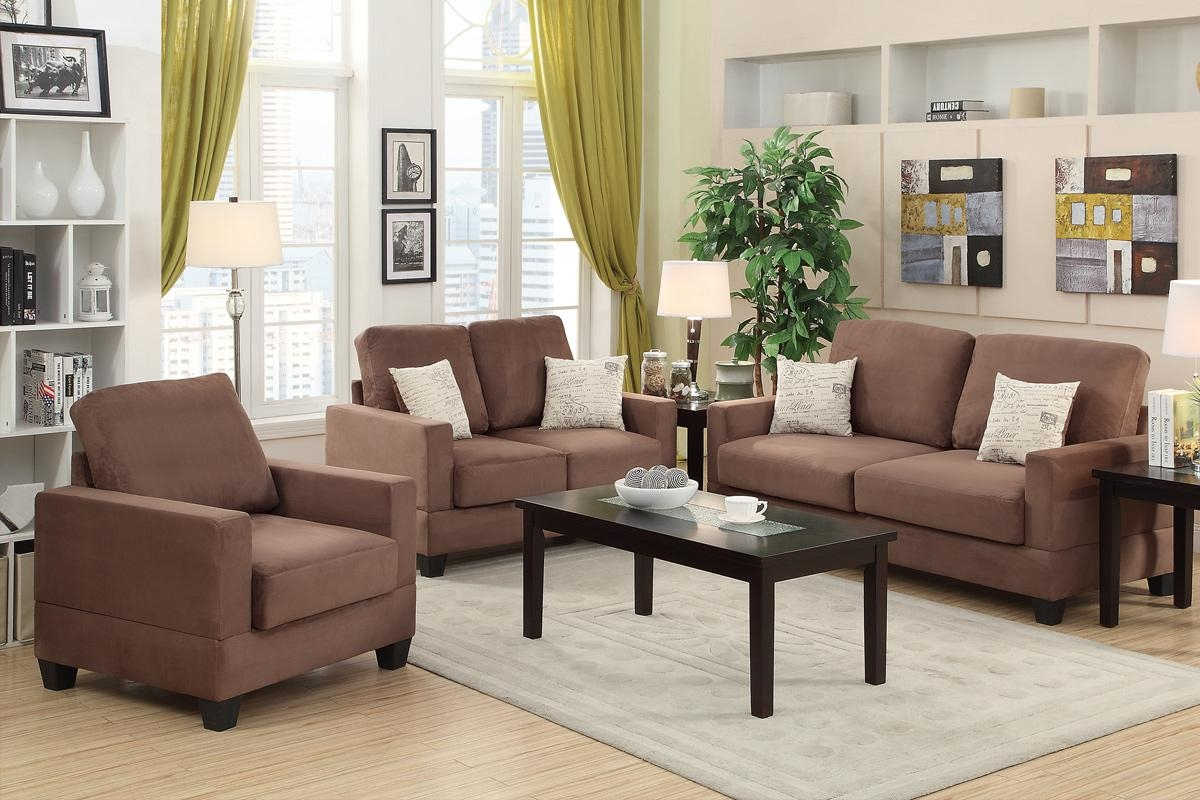 Brown Wood Sofa Loveseat And Chair Set – Steal A Sofa Furniture Pertaining To Sofa And Chair Set (Image 3 of 20)