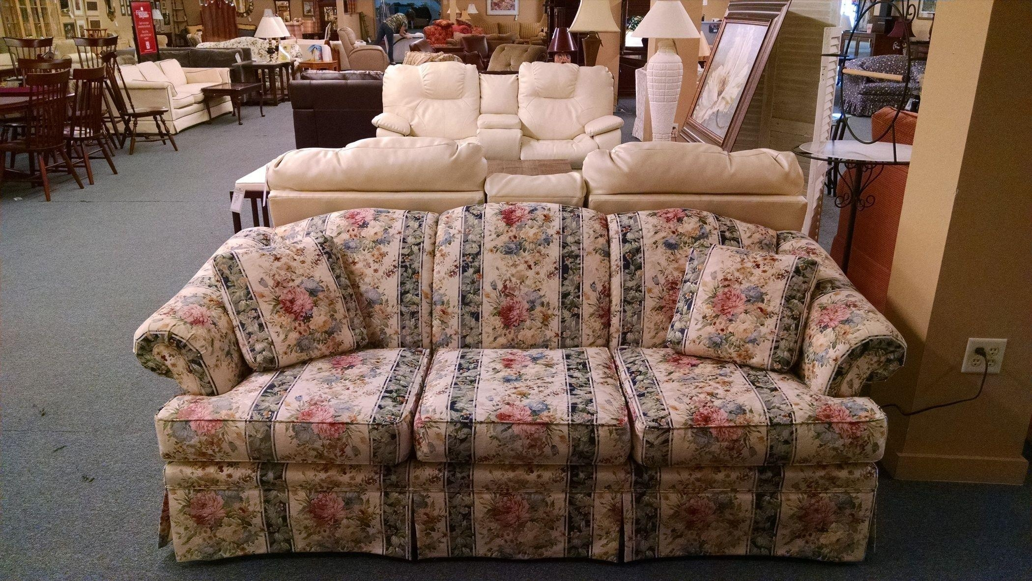 Broyhill Floral/striped Sofa | Delmarva Furniture Consignment With Floral Sofas (View 9 of 20)