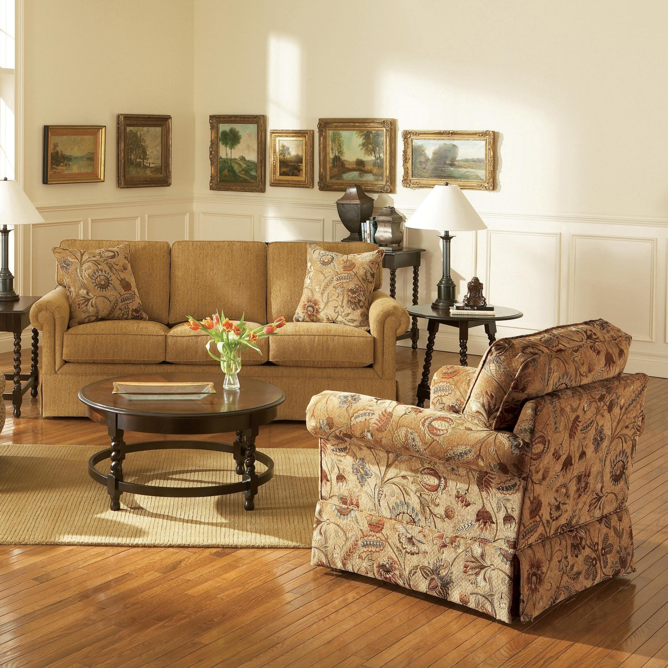 Broyhill Furniture Audrey Chair And Ottoman With Skirt – Wayside Within Broyhill Sofas (Image 2 of 20)