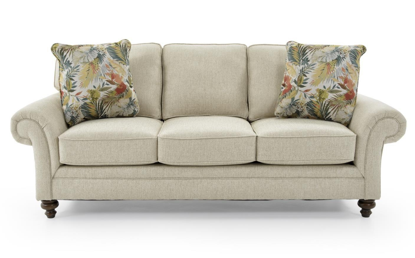 Broyhill Furniture Larissa Upholstered Stationary Sofa With Rolled Throughout Broyhill Sofas (Image 11 of 20)