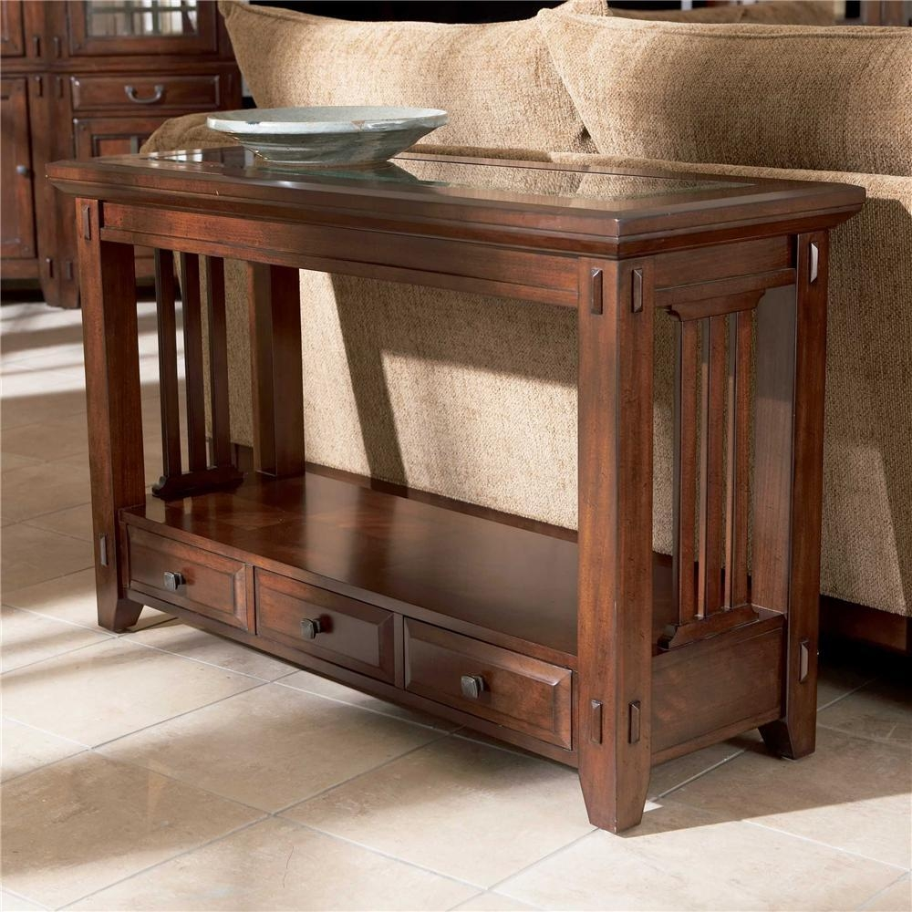 Broyhill Furniture Vantana Three Drawer Sofa Table – Value City Throughout Sofa Table Drawers (Image 3 of 20)