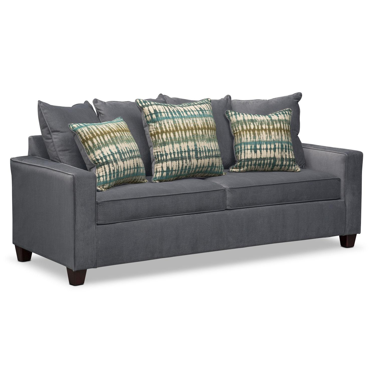 Bryden Queen Memory Foam Sleeper Sofa – Slate | Value City Furniture Within Queen Convertible Sofas (Image 3 of 20)