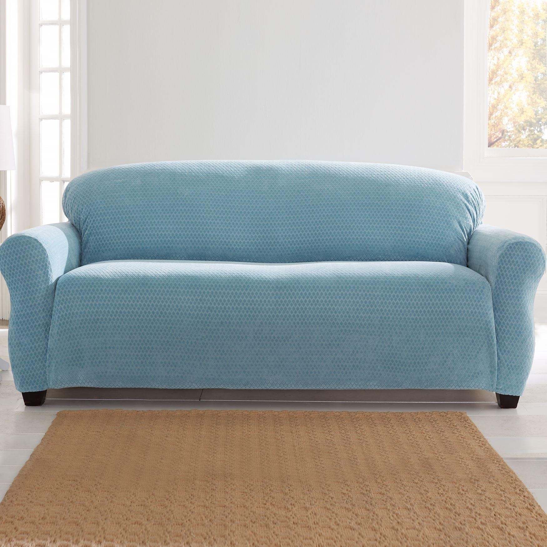Brylanehome® Studio Stretch Diamond Extra Long Sofa Slipcover With Regard To Turquoise Sofa Covers (Image 3 of 20)