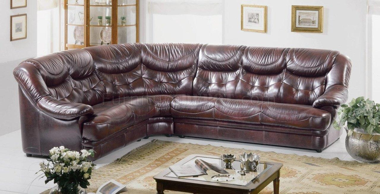 Burgundy Brown Full Top Grain Italian Leather Sectional Sofa Malaga In Burgundy Sectional Sofas (View 16 of 20)