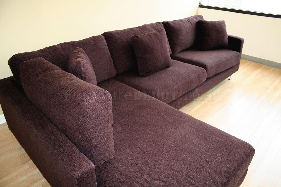 Burgundy Fabric Sectional Sofa With Metal Legs For Burgundy Sectional Sofas (Image 2 of 20)