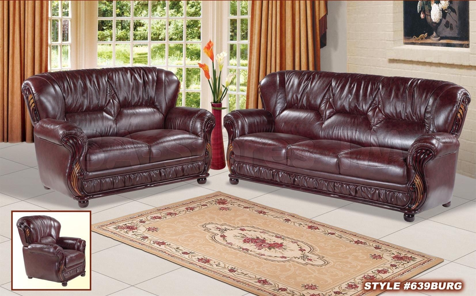 Featured Photo of Burgundy Leather Sofa Sets