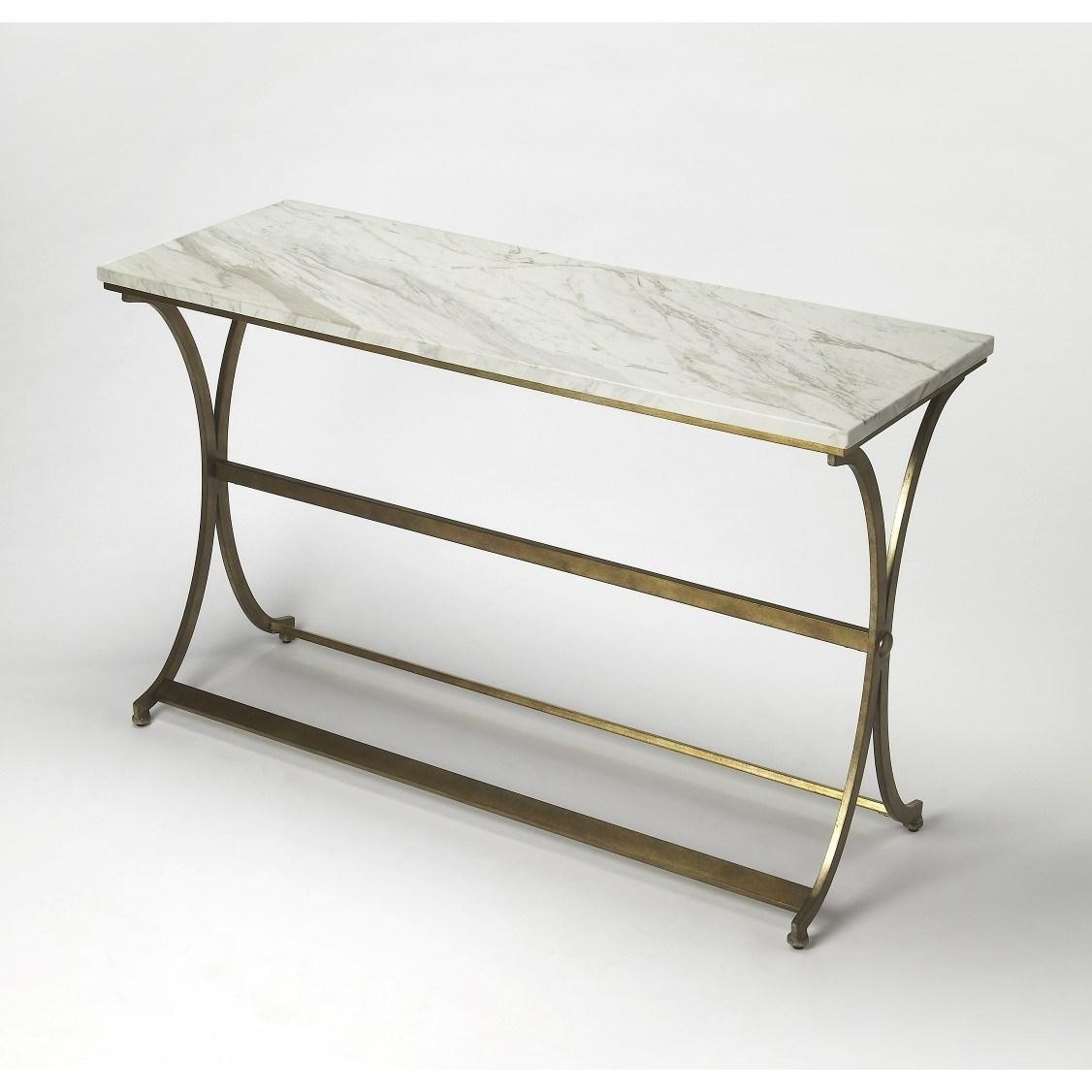 Butler 9324355 Pamina Travertine Console Table In Gold – Homeclick Regarding Gold Sofa Tables (Image 6 of 20)