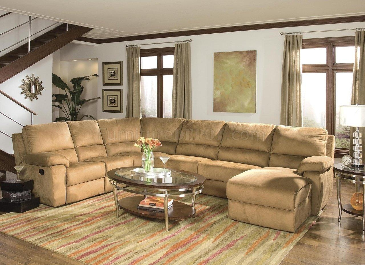 Butternut Micro Suede Contemporary Reclining Sectional Sofa With Leather And Suede Sectional Sofa (Image 1 of 20)