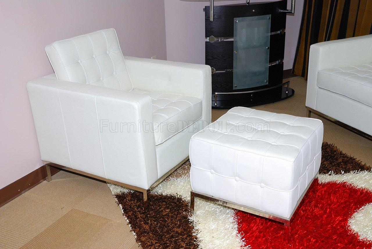 Button Tufted Full Leather Sofa, Chair & Ottoman Set With Regard To Sofa Chair And Ottoman (Image 4 of 20)