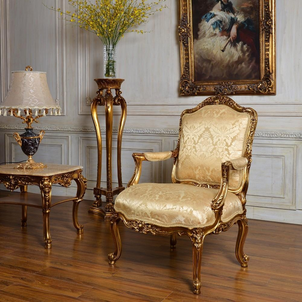 C59 Antique Gold Classic Bedroom And Living Room Single Sofa Chair Within Antique Sofa Chairs (Image 7 of 20)