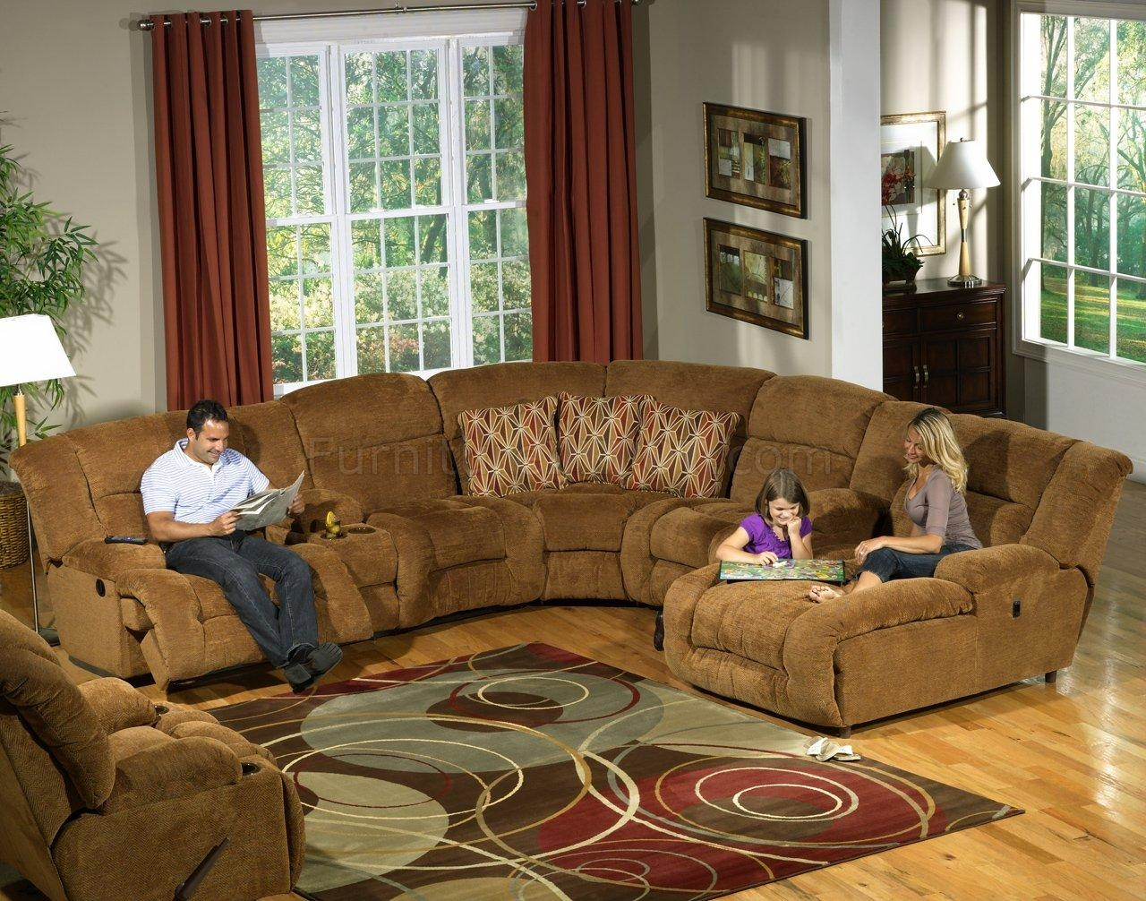 Camel Fabric Enterprise 4Pc Reclining Sectional Sofa W/options In Camel Sectional Sofa (Image 2 of 15)