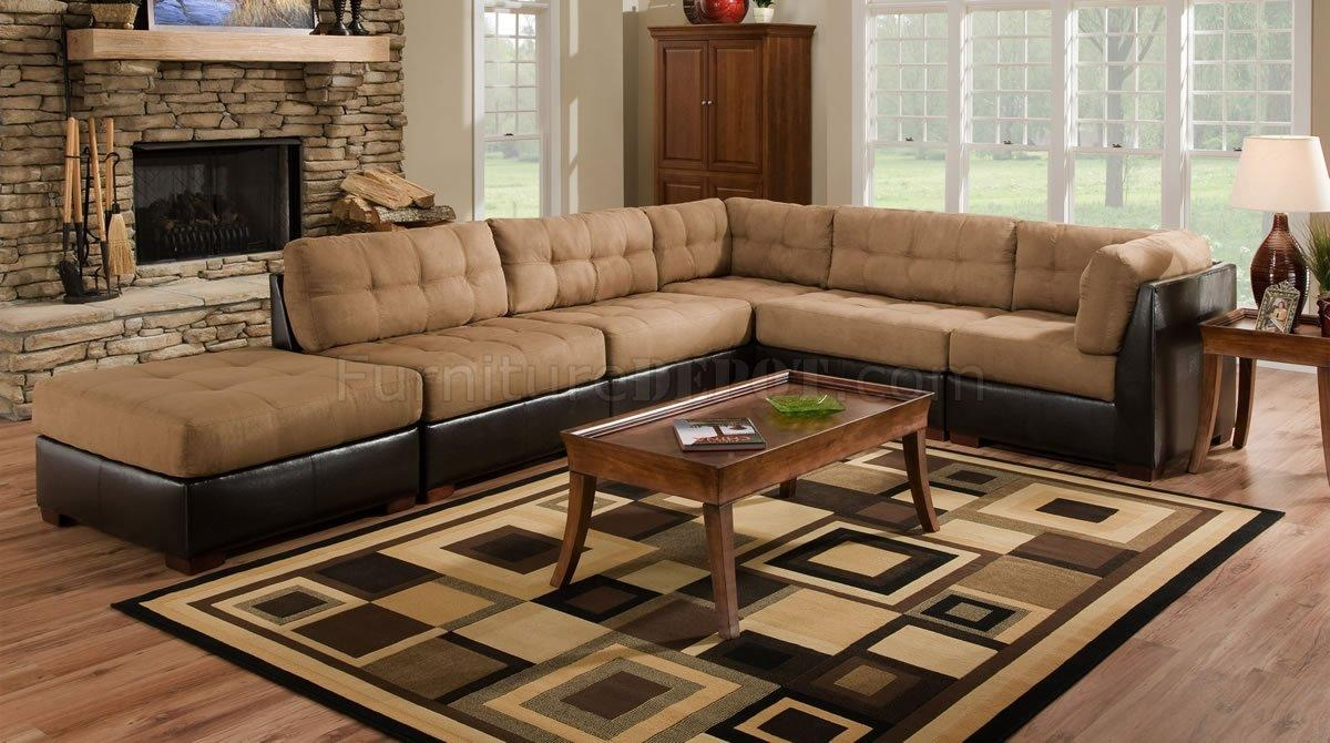 Camel Fabric Sectional Sofa W/dark Brown Faux Leather Base Inside Faux Leather Sectional Sofas (Image 2 of 15)