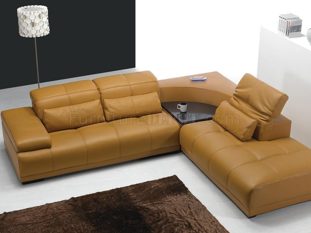 Camel Leather Modern Sectional Sofa 697 Within Camel Colored Sectional Sofa (Image 2 of 15)