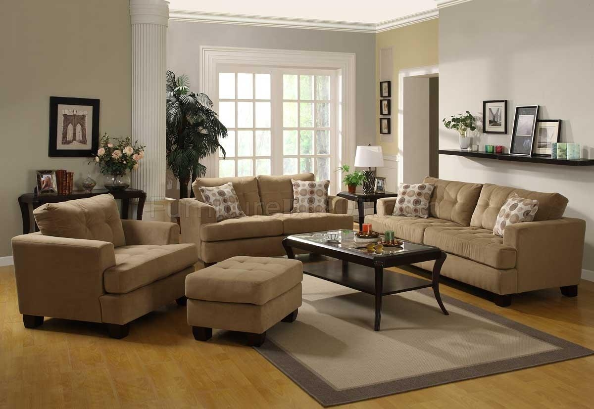 Camel Velvet Fabric Modern Sofa W/optional Items & Toss Pillows Throughout Camel Color Sofas (View 13 of 20)