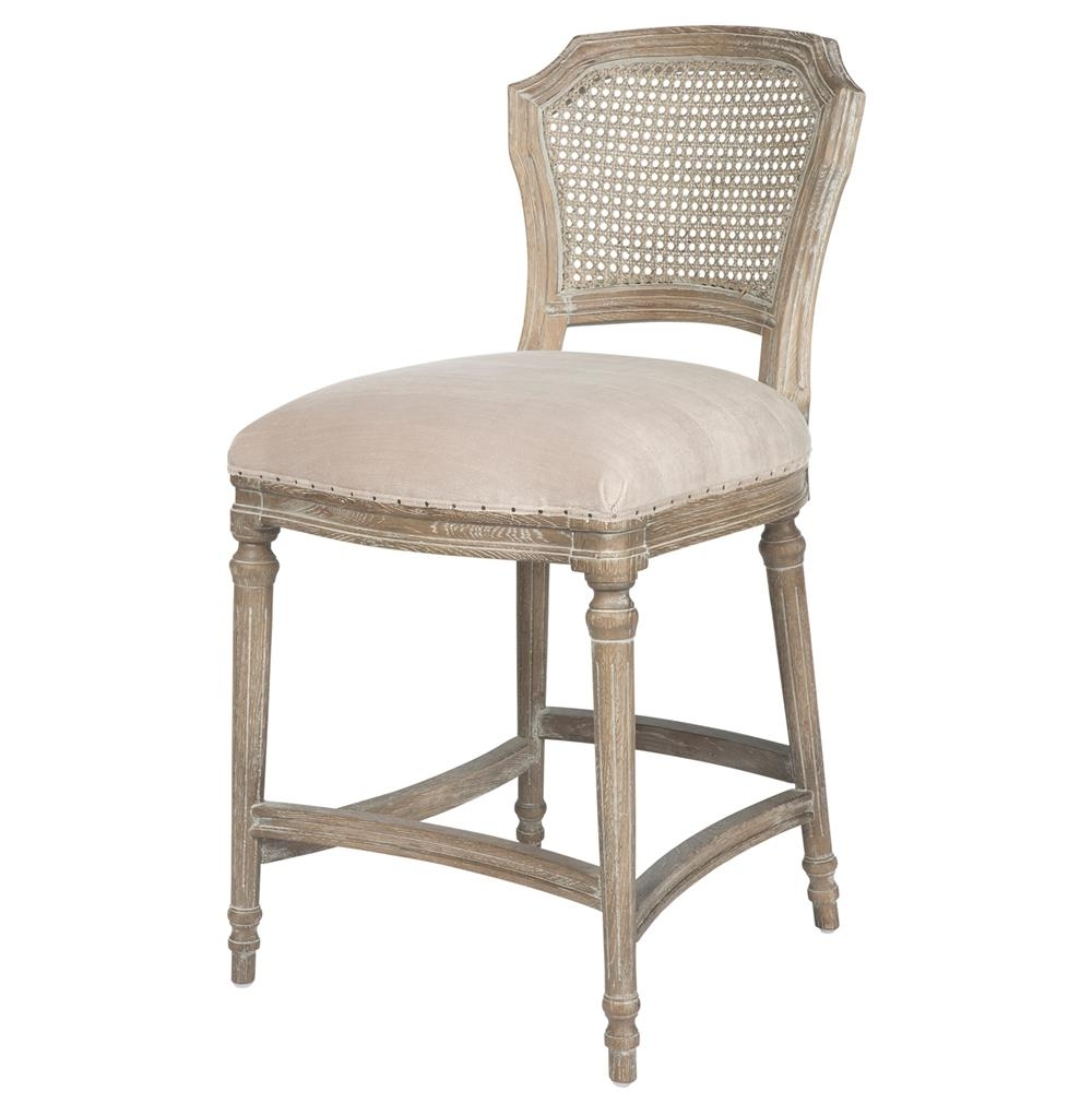 Camilla French Country Washed Ribbed Taupe Linen Counter Stool Intended For French Country Counter Stools (Image 5 of 20)