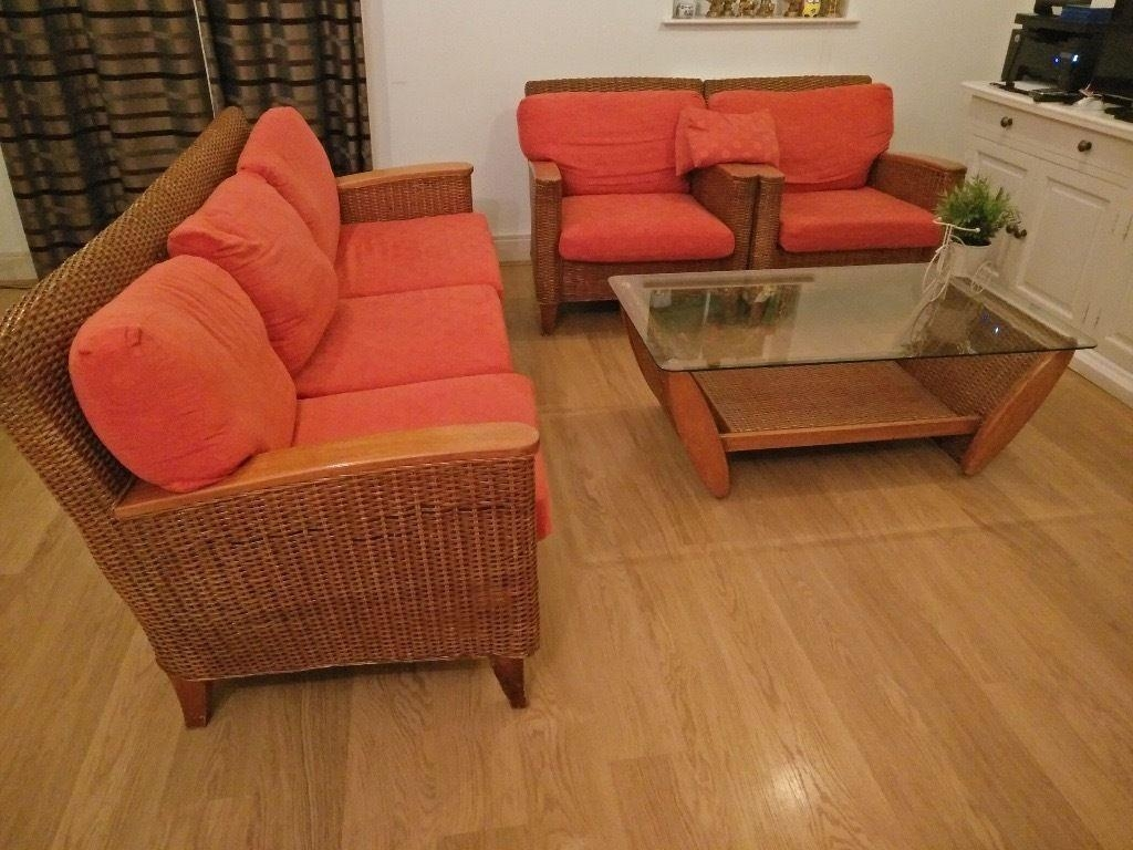 Cane Sofas,one 3 Seater And Two Single Seater,centre Table | In Throughout Cane Sofas (Image 9 of 20)