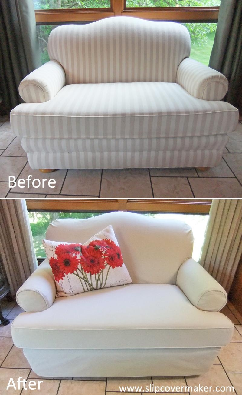 Canvas Slipcover For Camelback Loveseat | The Slipcover Maker Regarding Camel Back Sofa Slipcovers (Image 4 of 20)