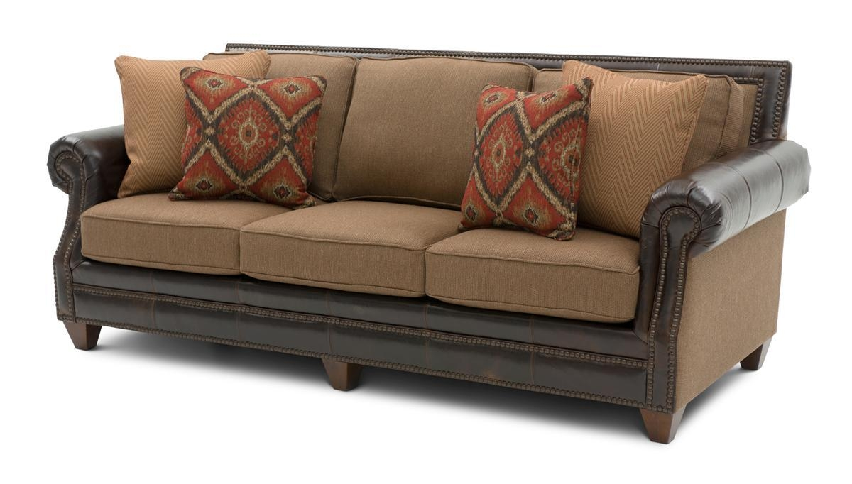 Cardigan Cinnamon Leather/fabric Sofa | Weir's Furniture Inside Leather And Cloth Sofa (View 2 of 20)
