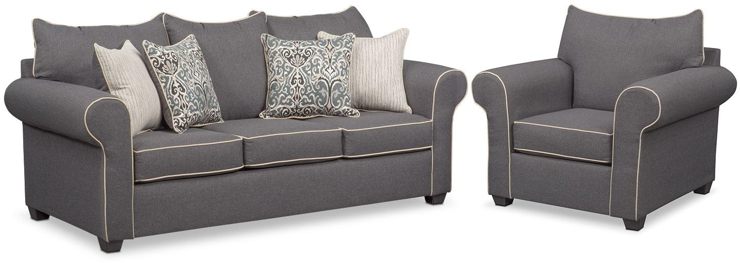 Carla Sofa And Chair Set – Gray | Value City Furniture With Sofa And Chair Set (Image 4 of 20)