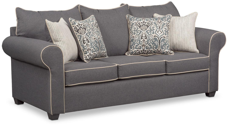 Carla Sofa – Gray | Value City Furniture Pertaining To Value City Sofas (View 16 of 20)