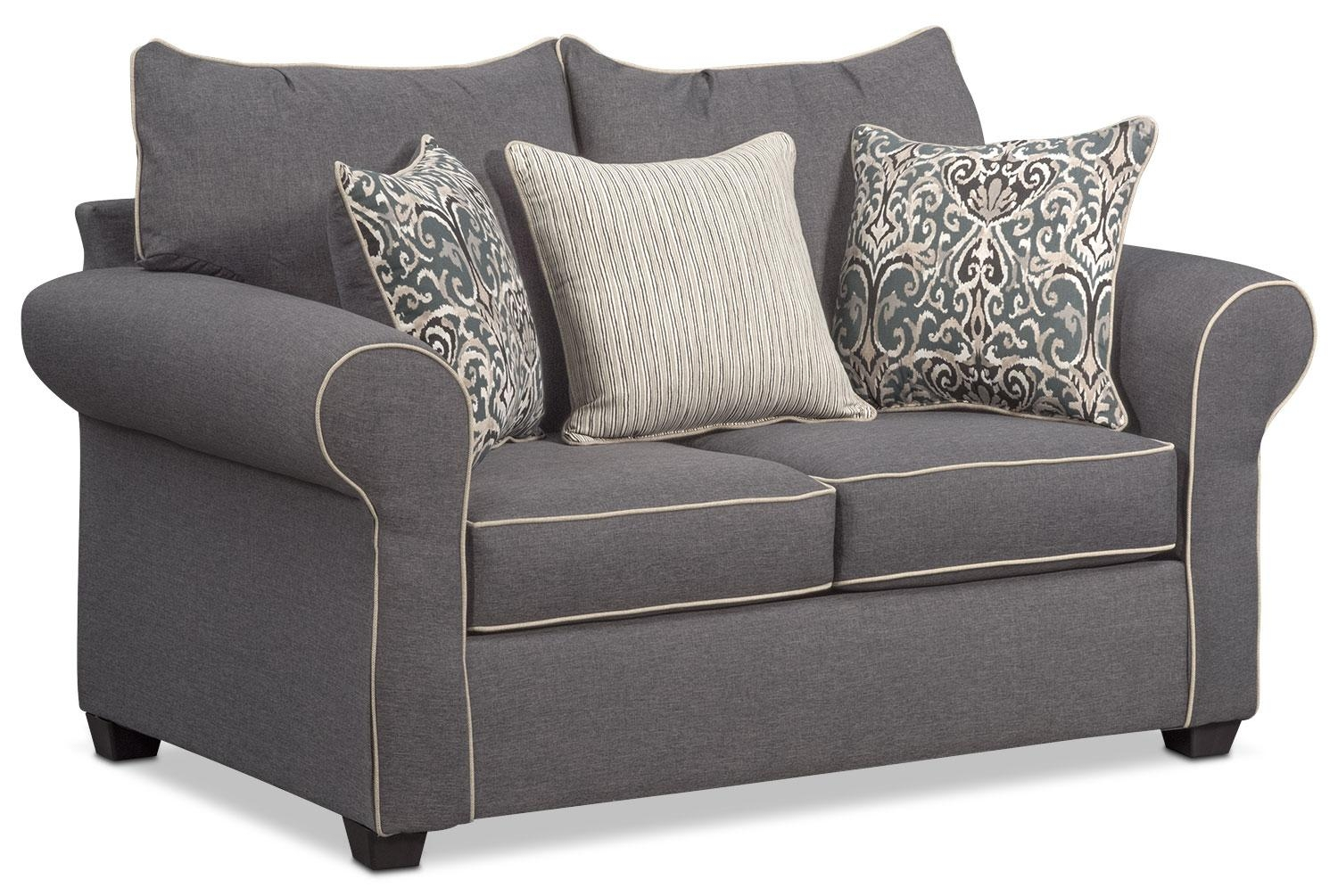 Carla Sofa, Loveseat, And Chair Set – Gray | Value City Furniture Throughout Sofa Loveseat And Chair Set (Image 6 of 20)