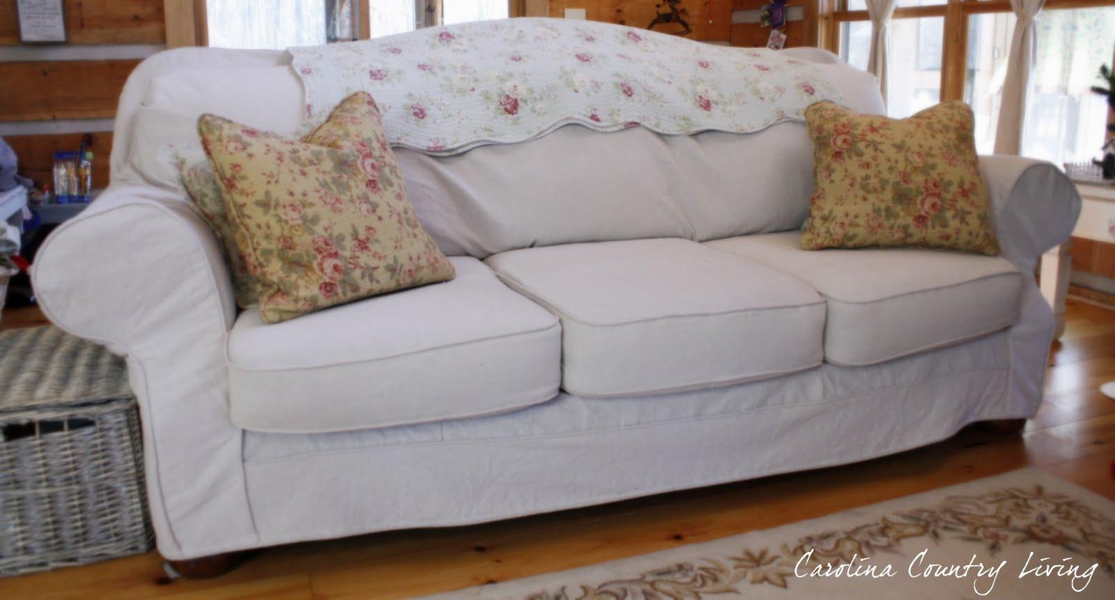Carolina Country Living: Drop Cloth Sofa Slipcover Intended For Camel Back Couch Slipcovers (Image 3 of 20)