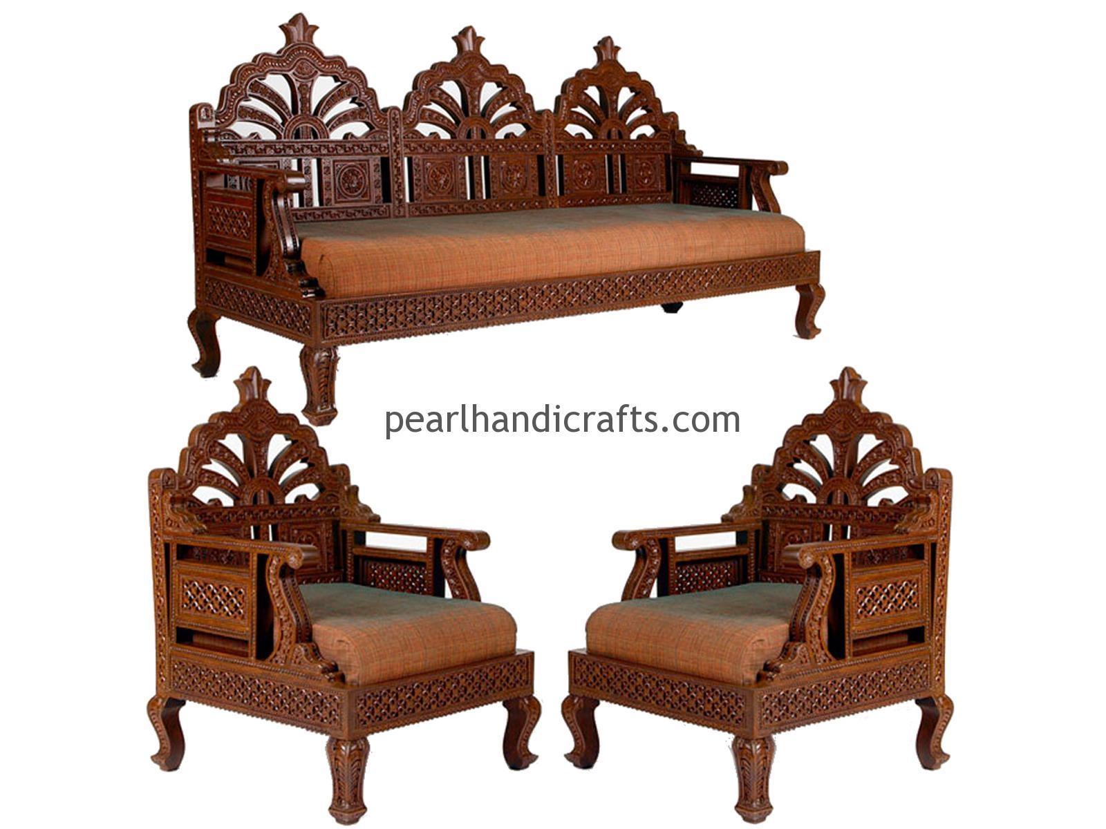 Carving, Circular, Rajasthani,traditional Teak Wood Sofa Set Pertaining To Carved Wood Sofas (Image 6 of 20)
